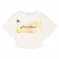 camiseta poncho de niña crudo y amarillo