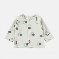 camiseta nacimiento bebe gris y agua petit oh