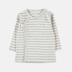 camiseta manga larga bebe rayas gris y vainilla petit oh