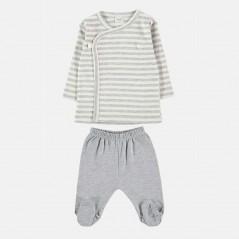conjunto primera puesta rayas gris y vainilla petit oh