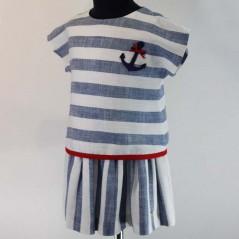 vestido niña corte cadera bas marti rayas azules