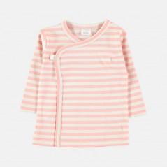 camiseta cruzada bebe rayas rosa petit oh