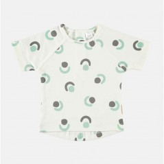camiseta manga corta bebe gris y agua petit oh