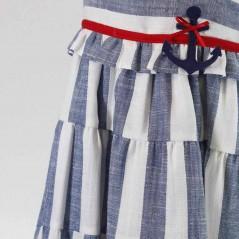 detalle vestido tirantes niña de vestir rayas azules bas marti