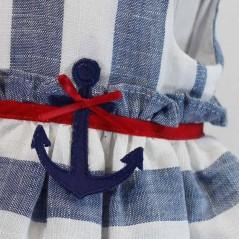 detalle ancla vestido niña de vestir rayas azules y rojo