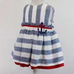 vestido niña de vestir rayas azules y rojo