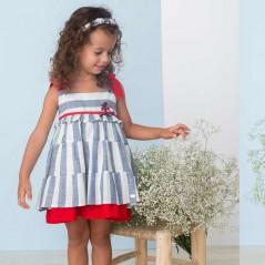 niña con vestido tirantes de vestir rayas azules bas marti