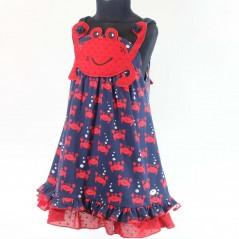 vestido niña rojo y azul de cangrejos bas marti