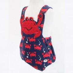 peto bebe rojo y marino de cangrejos bas marti