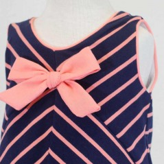 detalle lazo vestido desmangado de vestir niña rayas coral