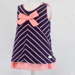 vestido desmangado de vestir niña rayas coral