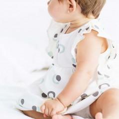 vestido algodon bebe petit oh isa gris y verde agua