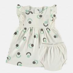 vestido con braguita bebe gris y verde agua