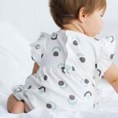 vestido algodon bebe petit oh isa gris y verde agua  por detras
