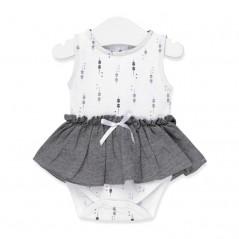 vestido body bebe de tous gris y blanco