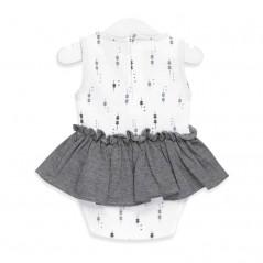 vestido body bebe de tous gris y blanco por detras