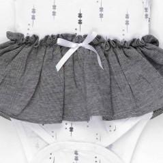 detalle vestido body bebe de tous gris y blanco