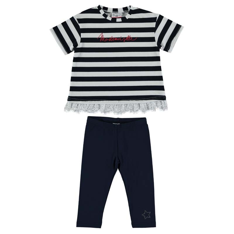 conjunto niña camiseta y leggins marino de bimbalina