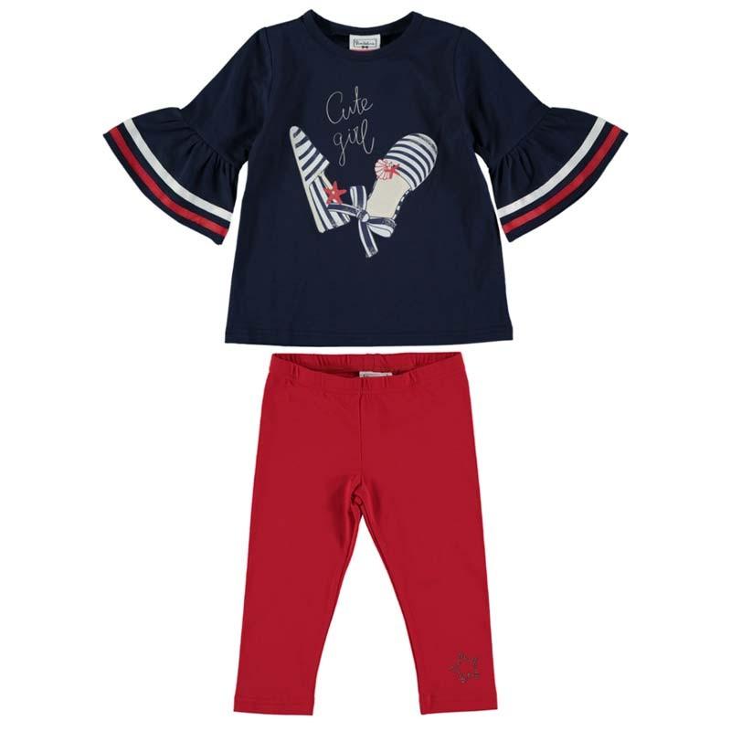conjunto niña bimbalina azul marino y leggins rojos