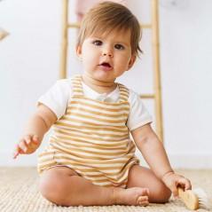 bebe con peto rayas mostaza de petit oh