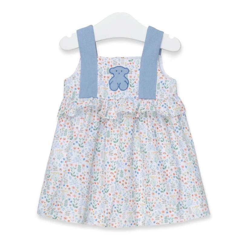 vestido bebe tous de flores azul