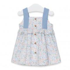 vestido bebe tous de flores azul por la espalda