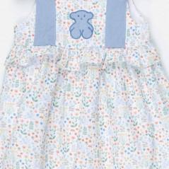 detalle vestido bebe tous de flores azul