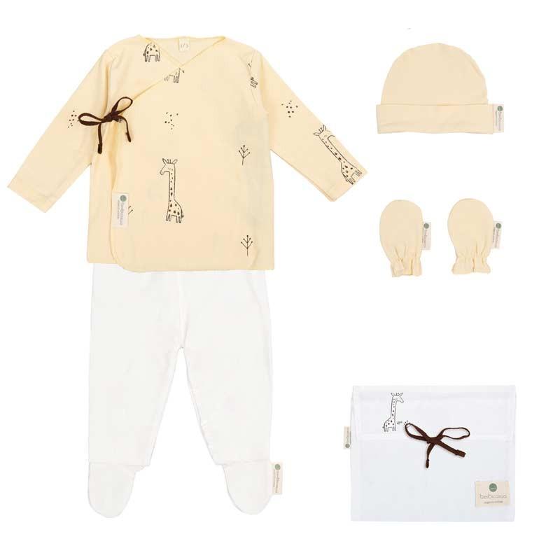 conjunto nacimiento bebe vainilla y crudo jirafa de bimbidreams