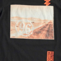 estampado naranja camiseta ido niño manga corta negra