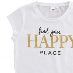 detalle camiseta ido niña desmangada blanca happy