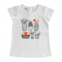 camiseta ido niña blanca estampado macetas