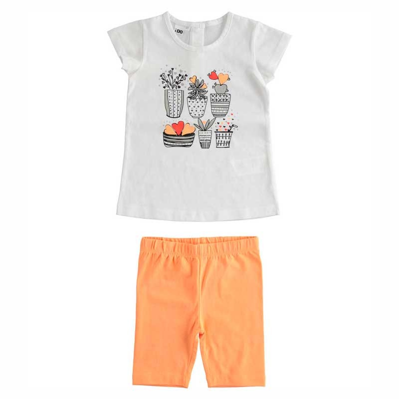 conjunto ido niña de punto naranja y blanco