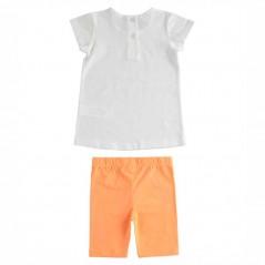 conjunto ido niña de punto naranja y blanco por detrás