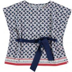 blusa niña bimbalina estampado conchas azul
