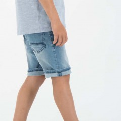 pantalon vaquero corto de niño garcia jeans azul visto de lado