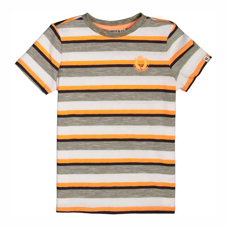 camiseta garcia jeans niño manga corta rayas amarillas