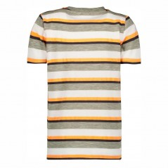 camiseta garcia jeans niño manga corta rayas amarillas y verdes por detras