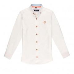 camisa niño nachete blanca y coral fluor