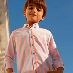 niño con camisa de vestir nachete rayas fluor