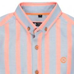 detalle camisa nachete niño rayas coral y azul
