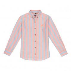 camisa nachete niño rayas coral y azul