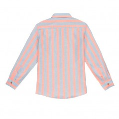 camisa nachete niño rayas coral y azul por detras