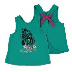 camiseta niña desmangada verde de bimbalina
