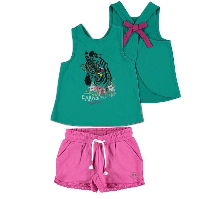 conjunto bimbalina niña de verano verde y fresa
