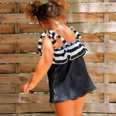 vestido y braguita baño niña de marena negro por detras