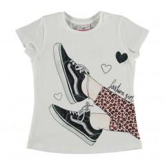 camiseta niña de bimbalina manga corta estampado zapatillas
