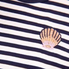 bordado vestido niña garcia jeans rayas marino