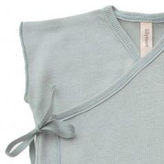 detalle camiseta primera puesta verano lillymom verde mint