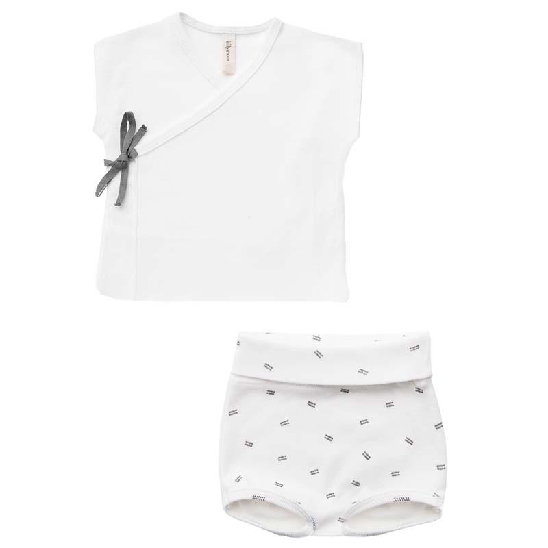 conjunto primera puesta verano lillymom blanco y gris