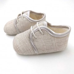 zapatos bebe de lino beige cuquito vista lateral
